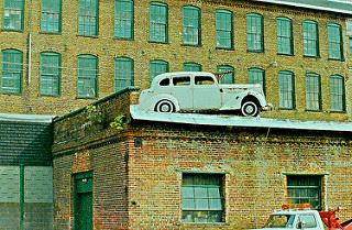 Packard Building Facade with car on top