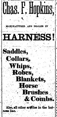 Detailed newspaper clip about harnesses from the 1870's