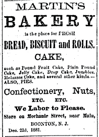 Detailed newspaper clip about a bakery from the 1880's
