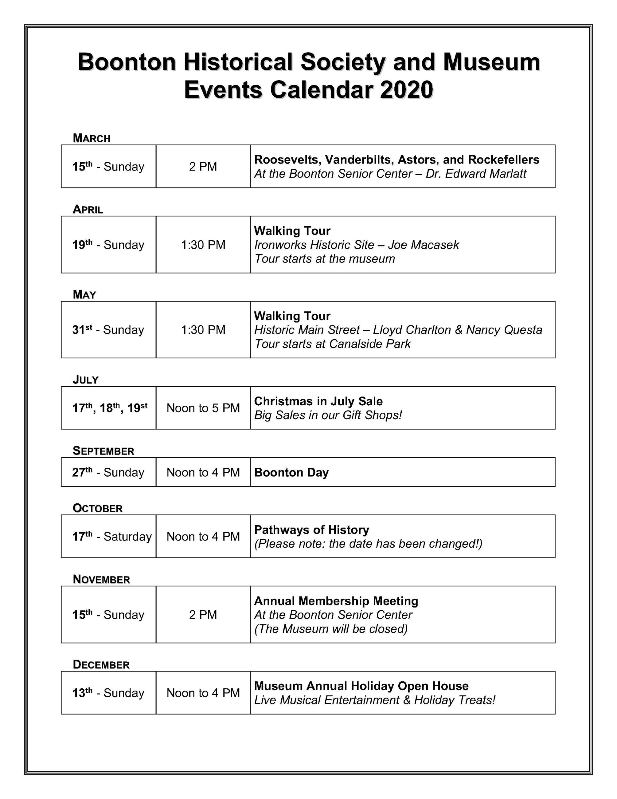 Historical Society Events Calendar 2020 Updated