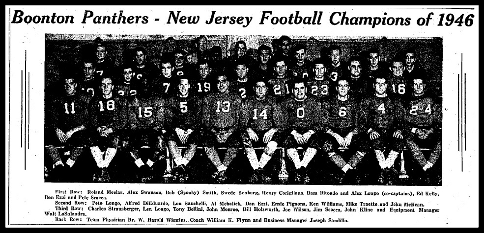 Boonton Panthers - New Jersey Football Champions of 1946; entire team sitting and their names listed