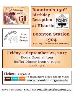 Boonton's 150th Birthday Reception with more details