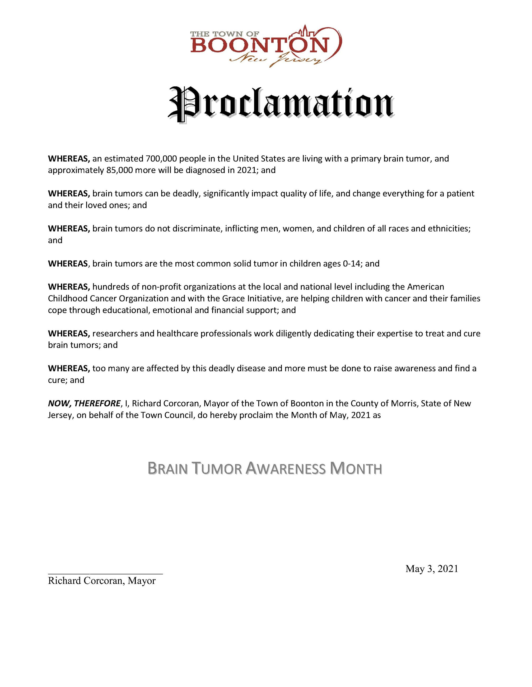 Proclamation May 2021 Brain Tumor Awareness Month