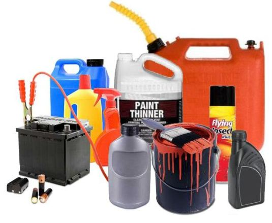 collection of paint cans and other hazardous materials