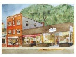 Watercolor of Main Street Scene by Russ Conn