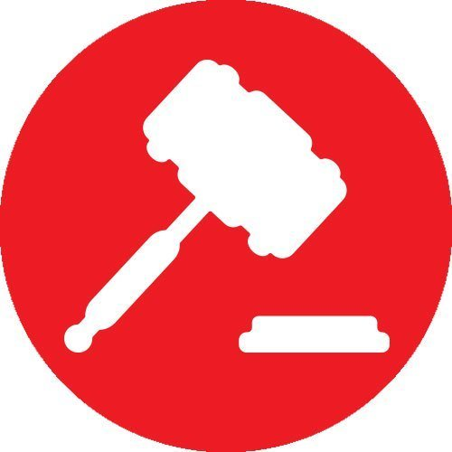 gavel icon in red