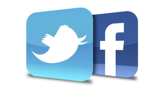 twitter and facebook logos in blue