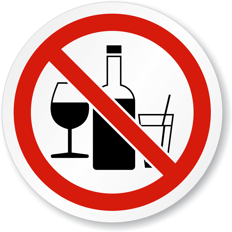 No alcohol permitted sign