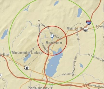 1 and 3 mile radius map